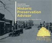 Volunteer announcement  for historic preservation advisor position