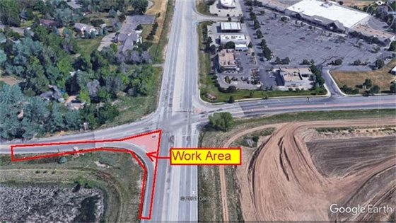 Construction area at intersection of Hwy 287 and Arapahoe Road