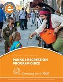 Fall 2021 Program Guide Cover - Boo! on Briggs Street Trick-or-Treating