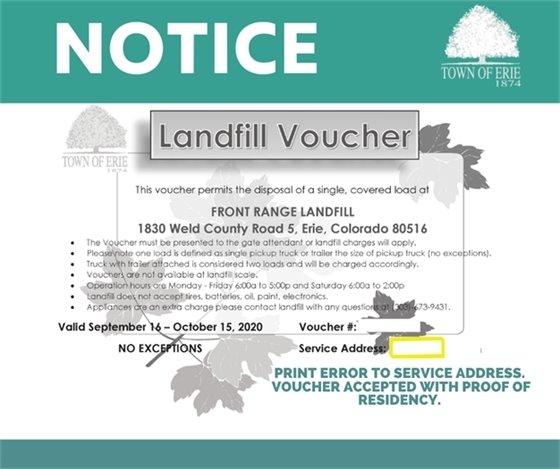 Landfill voucher print error
